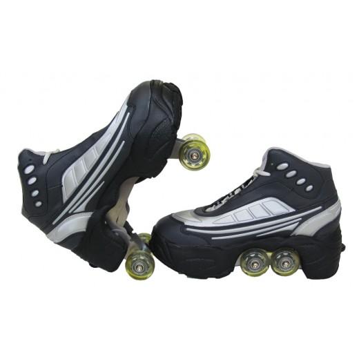 Rollers Πατίνια Skate Kick Roller (quad) Μαυρο Ασιμί NP-222